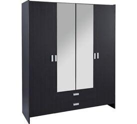 HOME New Capella 4 Door 2 Drawer Mirrored Wardrobe - Black