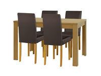 HOME Penley Extending Oak Veneer Table & 4 Chairs - Choc