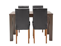 already built up Pemberton Walnut Veneer Table & 4 Chairs - Black
