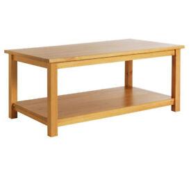 HOME Porto Solid Wood Single Shelf Coffee Table -Oak Effect