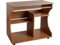 Used HOME Curved Computer Desk Trolley - Pine Effect , excellent condition