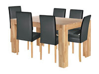 Collection Indiana Solid Oak Table & 6 Chairs - Black