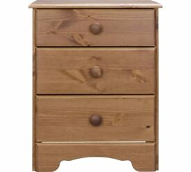 Ex display Nordic 3 Drawer Bedside Chest - Pine