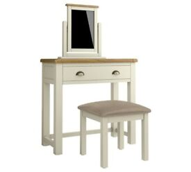 Ex Display Kent Dressing Table, Stool Mirror - Cream/Oak