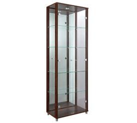already built up 2 Glass Door Display Cabinet - Walnut Effect