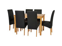 Fully assembled Lincoln Solid Wood Table & 6 Skirted Chairs - Black