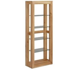 Hygena Oak Coloured Shelf Display Cabinet