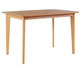 Hygena Retro Dining Table - Solid Beech Ash Veneer