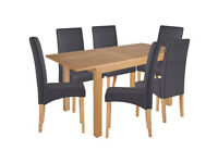 Clifton Extendable Table & 6 Chairs - Charcoal