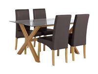Heart Of House Oakington Rec Glass Table & 4 Chairs - Choc
