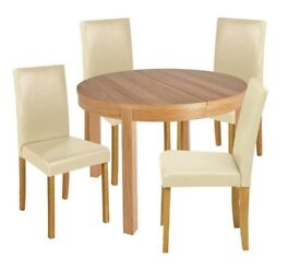Ex Display Clifton Extendable Table & 4 Chairs - Cream