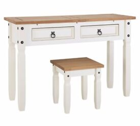 Puerto Rico Dressing Table & Stool - White & Pine