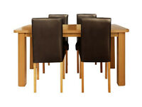 HOME Heyford Ext Wood Effect Dining Table & 4 Chairs - Choc