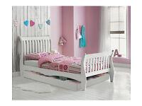 Daisy Single Sleigh Storage Bed Frame - White