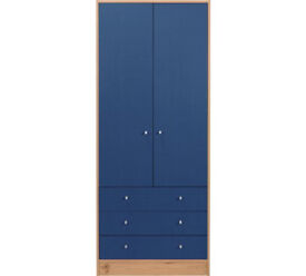 HOME Kids New Malibu 3 Door 2 Drawer Wardrobe - Blue & Pine