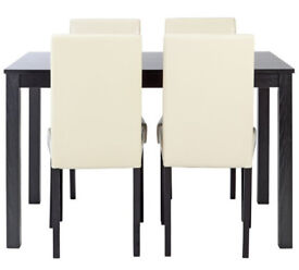Fully assembled Elmdon Wood Effect Dining Table & 4 Chairs - Cream