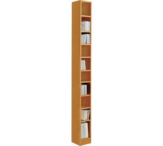 HOME Maine Tall CD and DVD Media Storage - Oak Effect