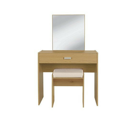 HOME New Capella Dressing Table, Stool & Mirror - Oak Eff