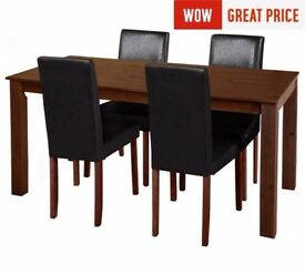 Ex-display Ashdon Solid Wood Table & 4 Mid Back Chairs - Black