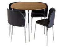 Hygena Amparo Oak Veneer Dining Table & 4 Chairs - Black (SOLD)