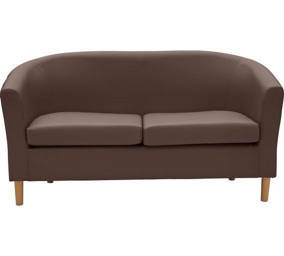 Chocolate Brown Faux leather tub sofa