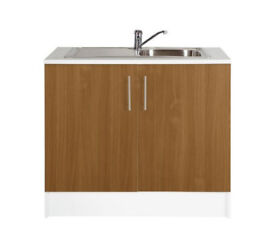 Athina 1000mm Stainless Steel Kitchen Sink Unit - Oak