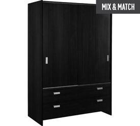 HOME New Capella 2 Door 2 Drawer Sliding Wardrobe -Black