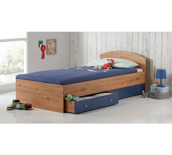 HOME Malibu Single Bed Frame - Blue on Pine