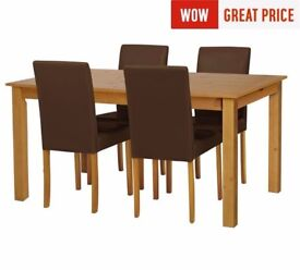 Ex display Ashdon Solid Wood Table & 4 Mid Back Chairs - Chocolate