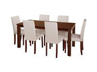 Pemberton Oak Veneer Dining Table & 6 Chairs - Cream