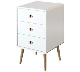 Softline 3 Drawer Bedside Chest - White
