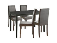 Ex display Alcott Dining Table & 4 Chairs - Black