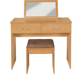 Cheval Dressing Table, Stool & Mirror - Beech Effect