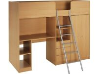 Single High Sleeper Bed Frame with desk, wardrobe, shelves and drawers