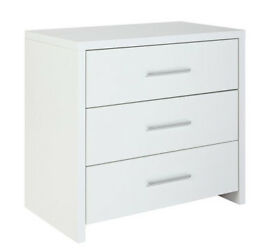 HOME Broadway 3 Drawer Chest - White Gloss & White