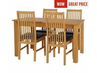 Ex Display Ashdon Solid Wood Table & 4 Paris Chairs - Chocolate