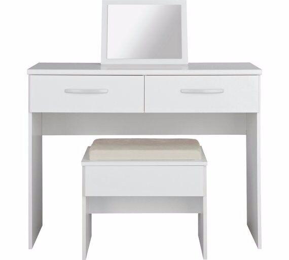 New Hallingford Dressing Table,Stool,Mirror-White