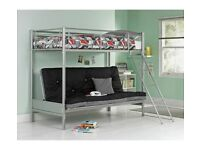 Metal Bunk Bed Frame with Futon