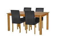 Ashdon Solid Wood Table & 4 Mid Back Chairs - Black/Cream/Choc
