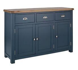 Heart of House Kent 3 Door Large Oak Veneer Sideboard - Blue