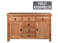 Ex Display Knightsbridge 2 Door 6 Drawer Oak Veneer Sideboard