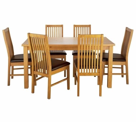 Ex display Ashdon Solid Wood Table & 6 Paris Chairs - Chocolate