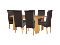 HOME Stonebury Table and 6 Skirted Chairs - Oak Stain Chocolate