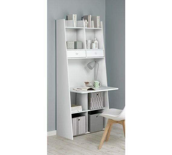 Auckland Wall Ladder Storage Shelving Unit With Desk Workstation White