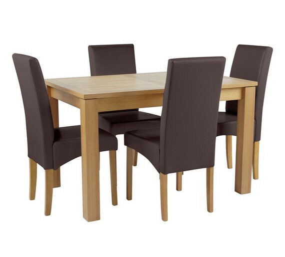 Collection Swanbourne Ext Oak Veneer Table & 4 Chairs - Choc