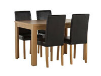 Fully assembled Penley Oak Veneer Ext Dining Table & 4 Chairs - Black