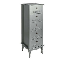 Collection Sophia 5 Drawer Tallboy - Silver