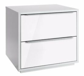 Ex-display Bergen 2 Drawer Bedside Chest - White Gloss
