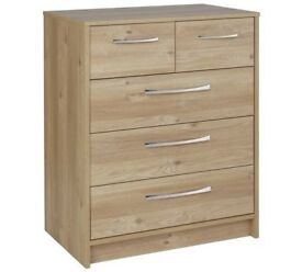 Ex Display Tilbury 3 + 2 Drawer Chest - Oak Effect