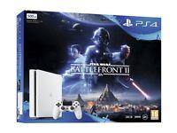 PS4 slim white battlefront 2 bundle sealed extended warranty 2 years